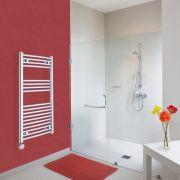 Elektrischer Handtuchheizkörper Gebogen Chrom 1000mm x 500mm inkl. ein 400W Heizelement - Etna