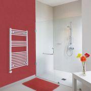 Elektrischer Handtuchheizkörper Gebogen Chrom 1000mm x 600mm inkl. ein 600W Heizelement - Etna