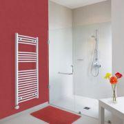 Elektrischer Handtuchheizkörper Gebogen Chrom 1200mm x 500mm inkl. ein 600W Heizelement - Etna
