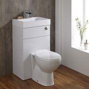 Ovale Toilette mit Spülkasten und integriertem Waschbecken