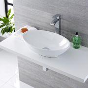 Aufsatzwaschbecken Kenton Oval 520mm x 320mm mit Standarmatur Razor im Set