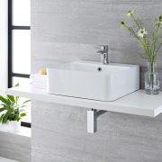 Aufsatzwaschbecken Exton Rechteckig 460mm x 420mm mit Einhebelarmatur im Set