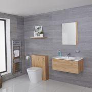 Hudson Reed Newington 800mm Vanity Unit mit Becken, Toilette und Wandpanel - Goldene Eiche