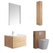 Hudson Reed Newington 600mm Badschrank mit Toilette, Aufbewahrungseinheit und Spiegel - Goldene Eiche