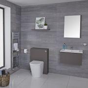 Hudson Reed Newington - Moderne Standtoilette mit Vorwandelement 600mm & Spülkasten - Mattgrau