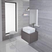 Hudson Reed Newington - 600mm Moderner Badschrank mit rechteckigem Aufsatzbecken - Mattgrau