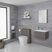 Hudson Reed Newington 600mm Vanity unit mit Becken, Toilette und Wandpanel – Mattgrau