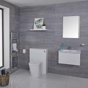 Hudson Reed Newington - Moderne Standtoilette mit Vorwandelement 600mm & Spülkasten - Mattweiß