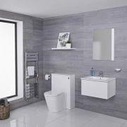 Hudson Reed Newington - Waschtisch mit Unterschrank 600mm & WC mit Vorwandelement - Mattweiß