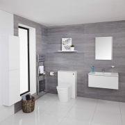 Hudson Reed Newington - Waschtisch mit Unterschrank 800mm, WC mit Vorwandelement, Badschrank & Spiegel - Mattweiß