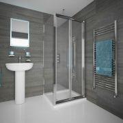 Duschkabine Eckdusche 800mm x 800mm inkl. Duschtasse und Falttür - Portland