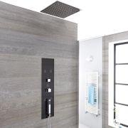 Unterputz Duschpaneel in dunklem Grau mit 3 Funktionen & quadratischem 400mm Unterputzduschkopf