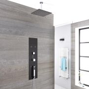 Unterputz Duschpaneel in dunklem Grau mit 3 Funktionen & quadratischem 300mm Duschkopf - Llis
