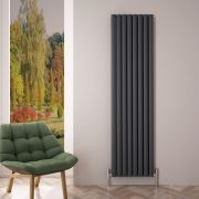 Design Heizkörper Aluminium Doppellagig Vertikal Anthrazit 1800mm x 470mm 2004W - Revive Air