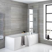 Badewanne rechtsbündig mit Badewannenaufsatz, inkl. Eckstück