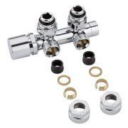 Hahnblock Heizkörperwinkelventil Manuell Chrom inkl. Multiadapter für 15mm Kupferrohre im Set