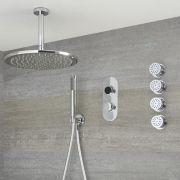 Digitale Dusche für drei Funktionen, inkl. rundem Duschkopf zur Deckenmontage und Körperdüsen - Narus