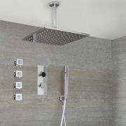 Digitale Dusche für drei Funktionen, inkl. quadratischem Duschkopf zur Deckenmontage und Körperdüsen - Narus