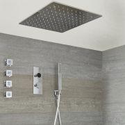 Digitale Dusche für drei Funktionen, inkl. quadratischem 400mm Unterputzduschkopf zur Deckenmontage und Körperdüsen - Narus