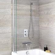 Badewannenarmatur mit Wasserfallauslauf und runder Handbrause - Como