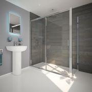 Duschkabine Eckdusche 1100mm x 800mm inkl. Duschtasse und Schiebetür - Portland