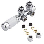 Hahnblock Heizkörperwinkelventil Manuell & thermostatisch Weiß inkl. Multiadapter für 15mm Kupferrohre im Set