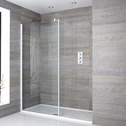 Walk-In Duschwand 1400mm x 800mm mit Seitenteil & Duschtasse - Lux