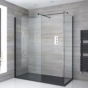 2 Walk-In Duschwände 800/1000mm inkl. 1700mm x 800mm Anthrazit Duschtasse & schwarzes Profil - Nox