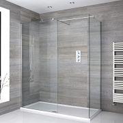 2 Walk-In Duschwände 800/1000mm inkl. 1700mm x 800mm Duschtasse & T-Stückhalterung - Portland
