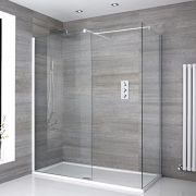 2 Walk-In Duschwände 800mm/ 800mm inkl. 1400mm x 800mm Duschtasse & weißes Profil - Lux