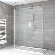Walk-In Duschwand 1200mm inkl. mit 2 Seitenteile & 1200mm x 900mm Duschtasse - Portland
