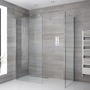 2 Walk-In Duschwände 1200mm/ 900mm mit 2 Haltearmen inkl. wählbare Duschrinne - Portland