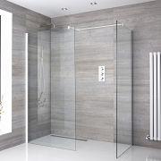 2 Walk-In Duschwände 1200mm/ 900mm inkl. weißes Profil & wählbare Duschrinne - Lux