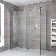 2 Walk-In Duschwände 800mm/ 900mm inkl. Seitenteil & wählbare Duschrinne - Portland