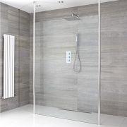 Walk-In Duschwand 1000mm inkl. wählbare Duschrinne & 2 Duschwandhaltestangen - Sera