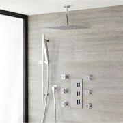 Duschsystem Kubix inkl Kopfbrause, Handbrause mit Stange, Seitenbrausen & Thermostat Duscharmatur