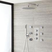 Duschsystem inkl Kopfbrause, Handbrause, Seitenbrausen & Thermostat Duscharmatur - Ecco