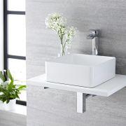 Aufsatzwaschbecken Alswear Quadratisch 360mm x 360mm mit Einhebelarmatur Razor im Set