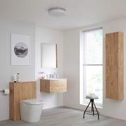Hudson Reed Newington - Waschtisch mit Unterschrank 600mm, WC mit Vorwandelement, Badschrank & Spiegel - Goldeiche