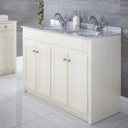 Waschtischunterschrank mit Aufsatzwaschbecken 1200mm Elfenbein - Charlton