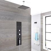 Unterputz Duschpaneel Llis in dunklem Grau mit 3 Funktionen & quadratischem 300mm Duschkopf - Llis