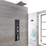 Unterputz Duschpaneel dunkelgrau mit 3 Funktionen & quadratischem 400mm Duschkopf Deckenmontage - Llis
