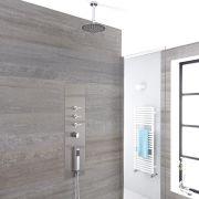 Unterputz Duschpaneel mit 3 Funktionen & rundem 200mm Duschkopf zur Wandmontage - Voco