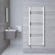 Handtuchheizkörper Mischbetrieb Gebogen Weiß 1500mm x 600mm 942W - Etna