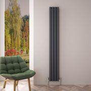 Design Heizkörper Aluminium Doppellagig Vertikal Anthrazit 1800mm x 230mm 1002W - Revive Air