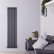 Design Heizkörper Vertikal Einlagig Anthrazit 1600mm x 420mm 946W - Vital