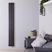 Design Heizkörper Elektrisch Vertikal Einlagig Schwarz 1600mm x 236mm inkl. ein 800W Heizelement - Revive
