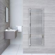 Elektrischer Handtuchheizkörper Gebogen Chrom 1500mm x 600mm inkl. ein 800W Heizelement - Etna