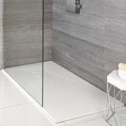Hudson Reed matt-weiß Stein-Optik rechteckige Duschwanne 1400x900mm