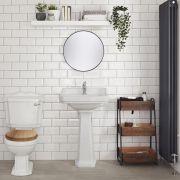 Traditionelles WC inkl. Toilettensitz aus Holz Walnuss und Spülkasten